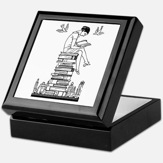 Reading Girl atop books Keepsake Box
