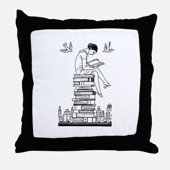 Reading Girl atop books Throw Pillow