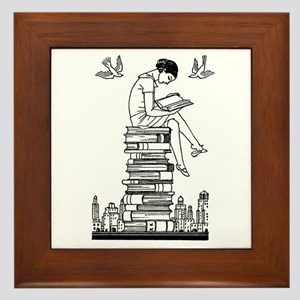 Reading Girl atop books Framed Tile