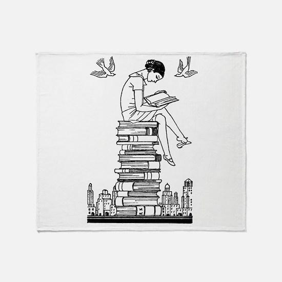 Reading Girl atop books Throw Blanket