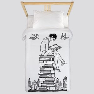 Reading Girl atop books Twin Duvet