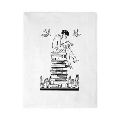 Reading Girl atop books Twin Duvet