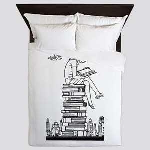 Reading Girl atop books Queen Duvet