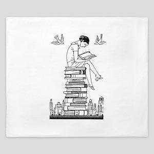 Reading Girl atop books King Duvet