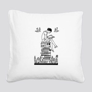 Reading Girl atop books Square Canvas Pillow