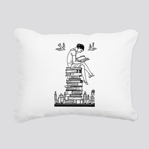 Reading Girl atop books Rectangular Canvas Pillow
