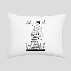Reading Girl atop books Rectangular Canvas Pillow
