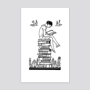Reading Girl atop books Mini Poster Print