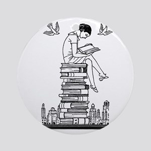 Reading Girl atop books Ornament (Round)