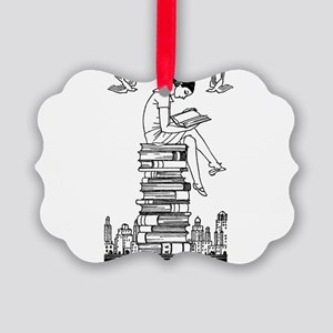 Reading Girl atop books Picture Ornament