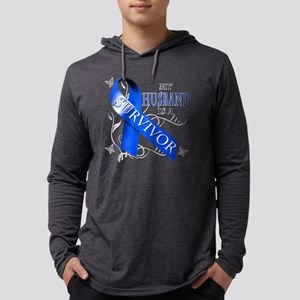 My Husband is a Survivor (blue) Mens Hooded Shirt