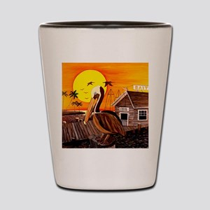 Brown Pelican at Sunset Shot Glass