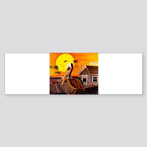 Brown Pelican at Sunset Sticker (Bumper)