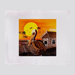 Brown Pelican at Sunset Throw Blanket