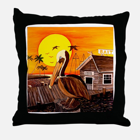 Brown Pelican at Sunset Throw Pillow