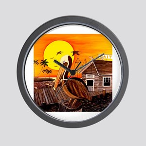 Brown Pelican at Sunset Wall Clock