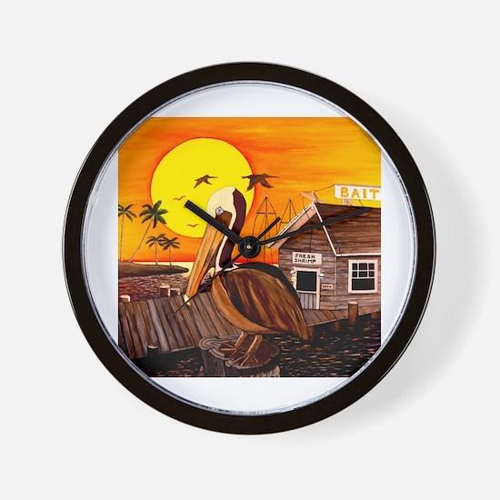 Brown Pelican at Sunset Wall Clock