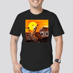 Brown Pelican at Sunset Men's Fitted T-Shirt (dark
