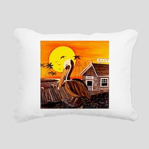 Brown Pelican at Sunset Rectangular Canvas Pillow