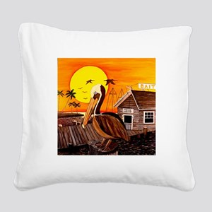 Brown Pelican at Sunset Square Canvas Pillow