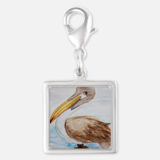 Brown Pelican Silver Square Charm
