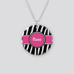 Pink Zebra Print Personalized Necklace Circle Char