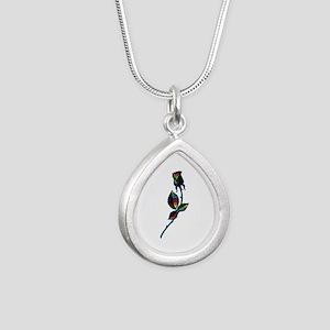 Gay Black Rose Silver Teardrop Necklace
