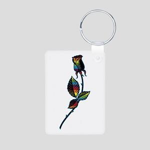 Gay Black Rose Aluminum Photo Keychain