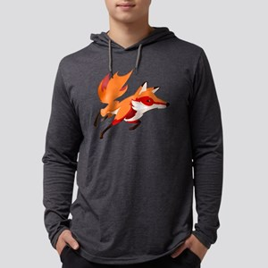 Sly Red Fox Running Mens Hooded Shirt