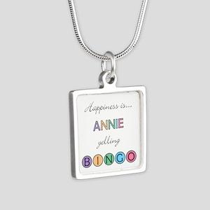 Annie Yelling BINGO Silver Square Necklace