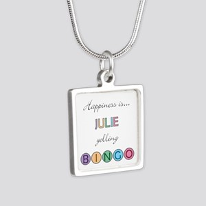 Julie Yelling BINGO Silver Square Necklace