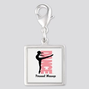 Personalized Beautiful Dancer Silver Square Charm