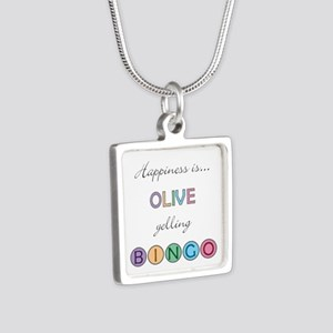 Olive Yelling BINGO Silver Square Necklace
