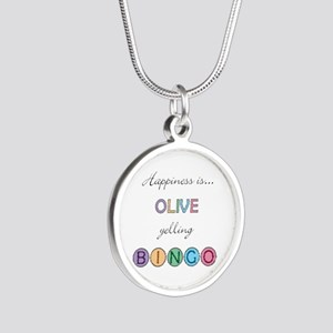 Olive Yelling BINGO Silver Round Necklace