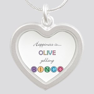 Olive Yelling BINGO Silver Heart Necklace