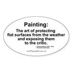 Painting: art of protecting... Oval Sticker