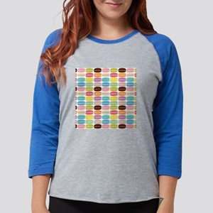 Rainbow French Macarons Patter Womens Baseball Tee