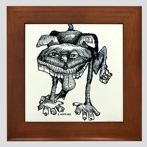 Dog peeing Framed Tile