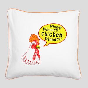 Winner Chicken Dinner Square Canvas Pillow