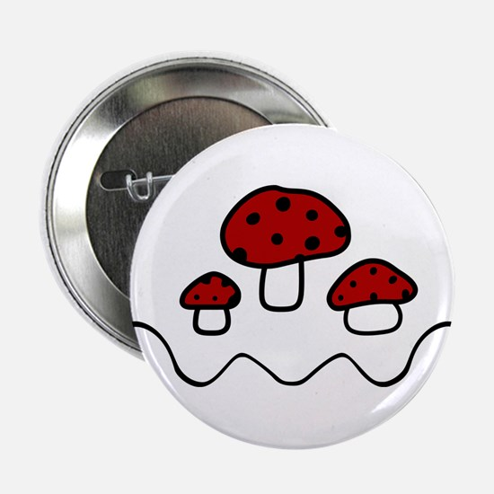 "Red Mushrooms 2.25"" Button"