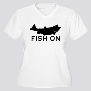 Fish on Women's Plus Size V-Neck T-Shirt