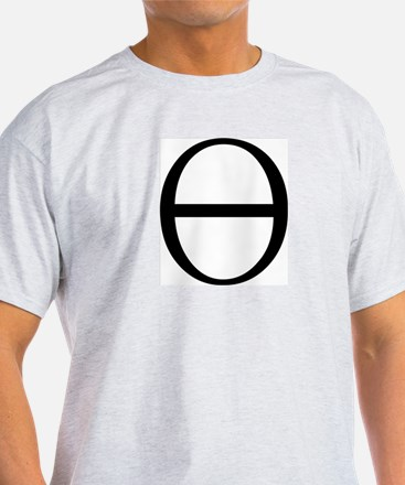 Greek Symbol Theta Ash Grey T-Shirt