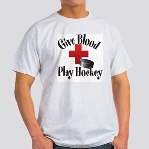 Give Blood Play Hockey Ash Grey T-Shirt T-Shirt