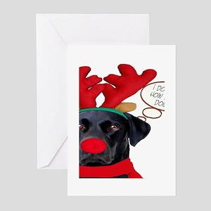 Black Lab Rudolph Greeting Cards