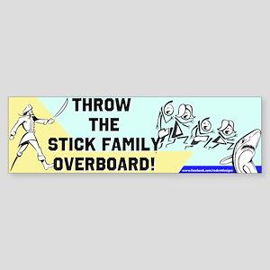 Stick Family Overboard Bumper Sticker