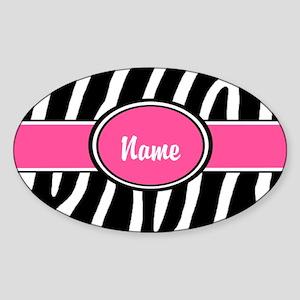 Pink Zebra Personalized Sticker (Oval)