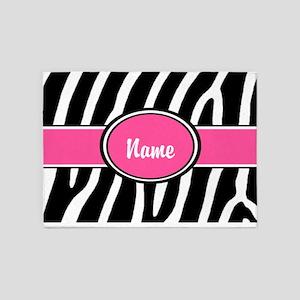 Pink Zebra Personalized 5'x7'Area Rug