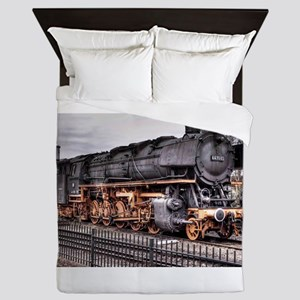 Vintage Locomotive Steam Train Queen Duvet