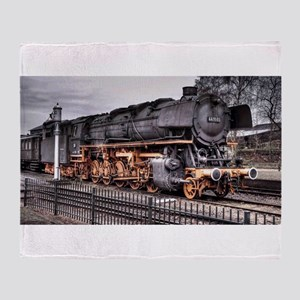 Vintage Locomotive Steam Train Throw Blanket