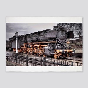 Vintage Locomotive Steam Train 5'x7'Area Rug